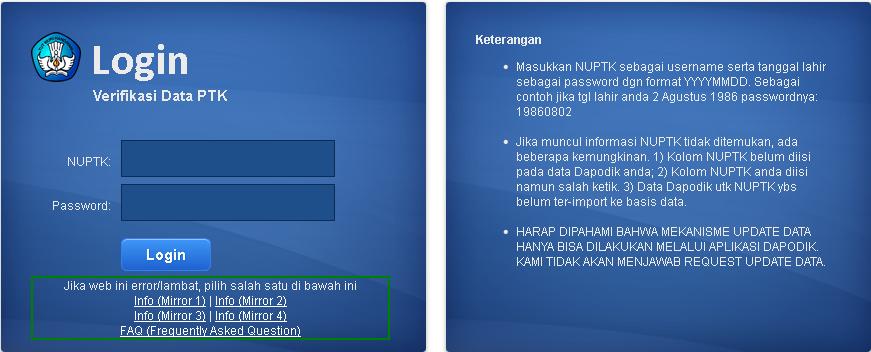 Buka halaman P2TK DIKDAS di URL http://223.27.144.195:8082/info.php